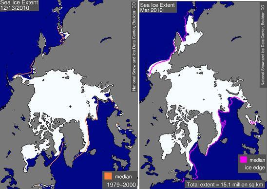 Aktuální rozloha mořského ledu v Arktidě (13. 12.  2010) a její letošní březnový průměr, kdy dosáhla maxima. Fialové obrysy označují příslušný průměr za období 1979 – 2000.